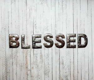 Block Letter Metal Art - Blessed