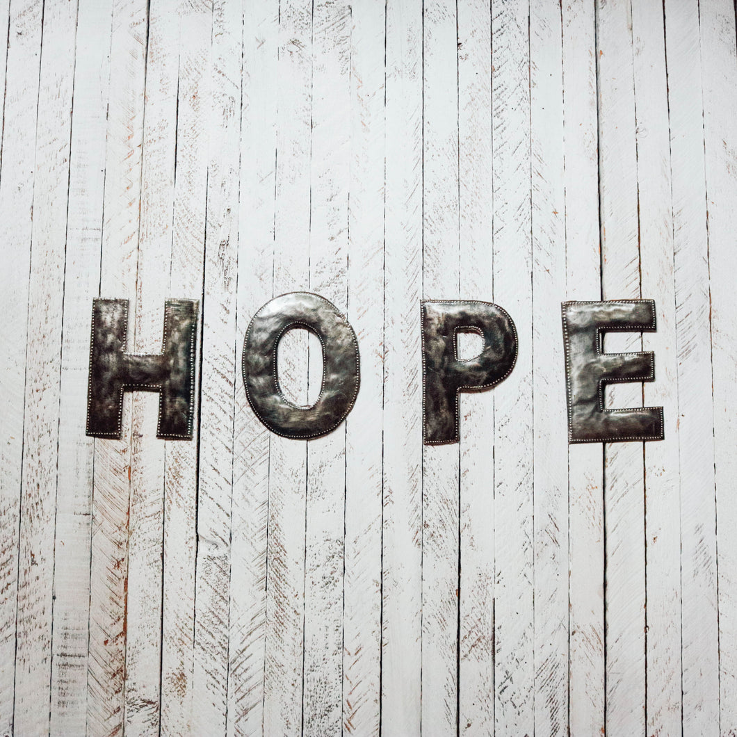 Block Letter Metal Art - Hope