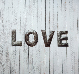 Block Letter Metal Art - Love