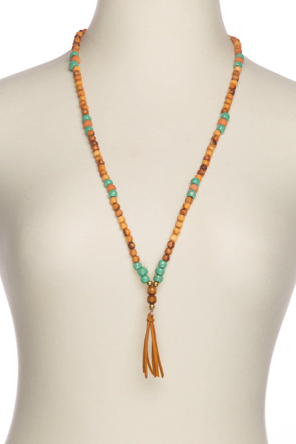 Diffuser Necklace - Mint & Wood Tassel