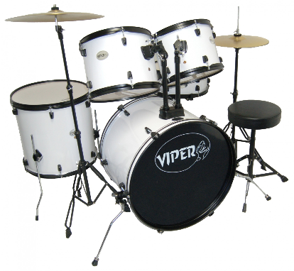 Viper Student Drum Set in White