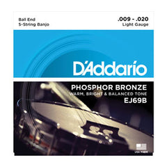 D'Addario EJ69B 5-String Ball-End Banjo, Phosphor Bronze, Light, 9-20
