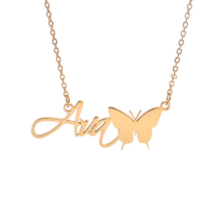 Custom Name Butterfly Necklaces