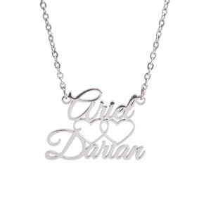 Custom Name Stacked Double Heart Necklaces