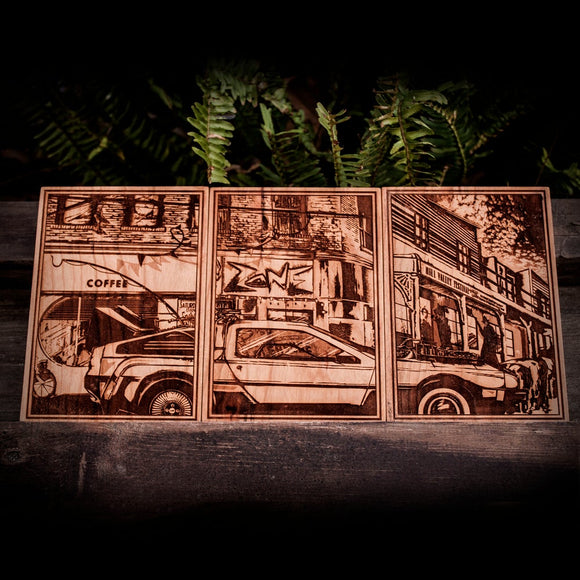 Back to the Future wood laser engraved plaque set small