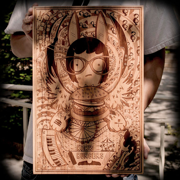 Bobs Burgers Tina Belcher wood laser engraved art plaque