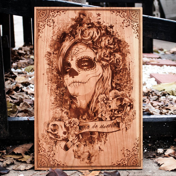 Dia de Muertos wood laser engraved art plaque