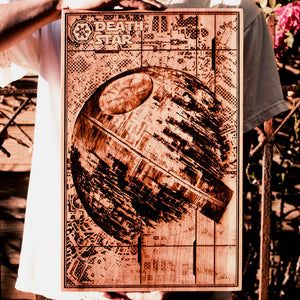 Star Wars Death star laser etched laser engraved artwork