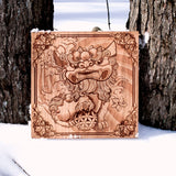 Laser Engraved Foo Dog, Tattoo inspired art.