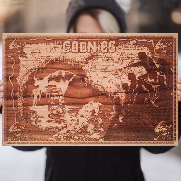 The Goonies a classic 80's Movie Laser Engraved, Laser Etched on Cherry Hardwood. Created by Spitfire labs NYC.