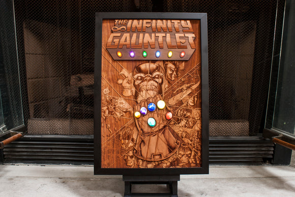 laser engraved infinity gauntlet. wood comic book cover art