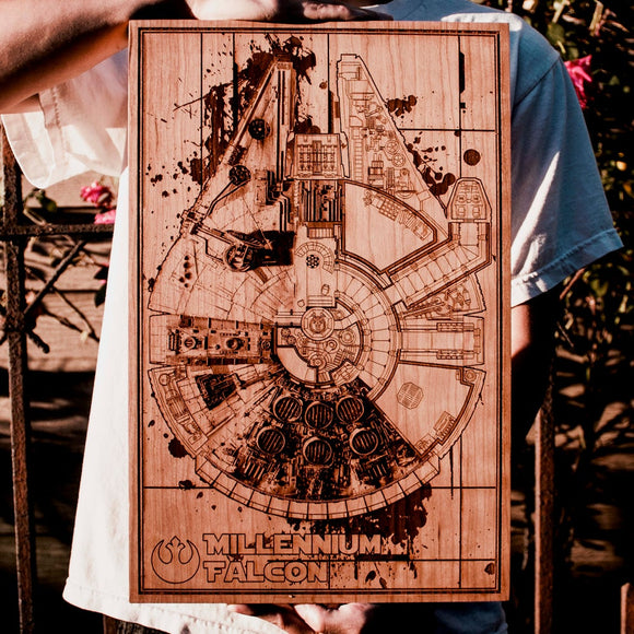 Star Wars Millennium Falcon laser engraved wood plaque