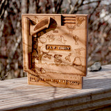 Laser engraved, Laser etched wood NES nintendo Super Mario Brothers Duck hunt cartridge made by spitfirelabs nyc