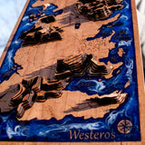 Game of Thrones Westeros Map Laser Etched and Engraved
