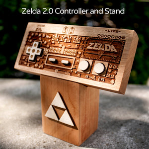 laser engraved, laser etched The Legend of Zelda NES wood controllers, done by spitfirelabs nyc
