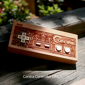 laser engraved, laser etched wood Contra NES  controller done by spitfirelabs