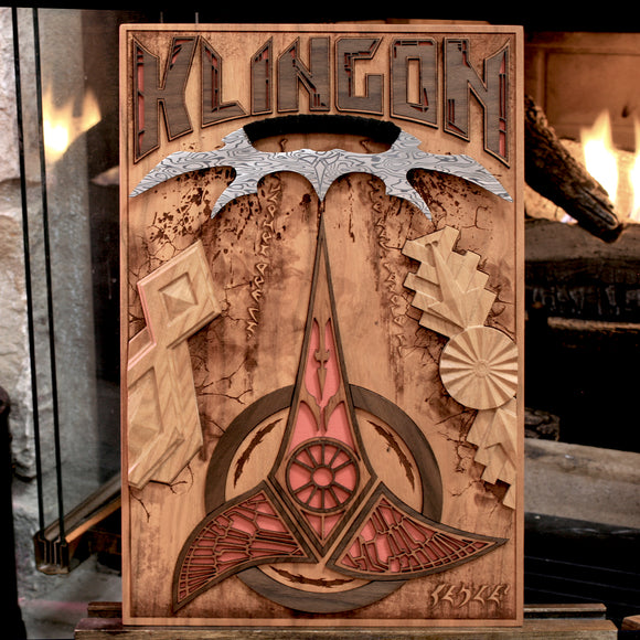 laser engraved, laser etched, Klingon, wood art, star trek art, spitfirelabs, spitfirelabs nyc, cnc art