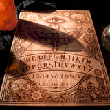 laser engraved, laser etched, wood Ouija Board and Planchette done by Spitfire labs NYC