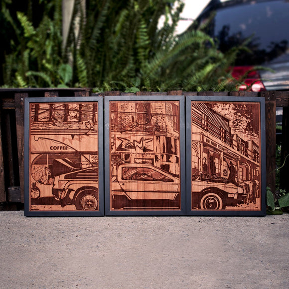 Back to the Future wood laser engraved plaque set