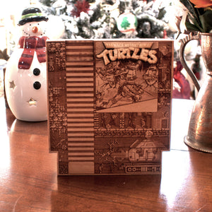 laser engraved, laser etched wood TMNT NES wood cartridge done by spitfirelabs