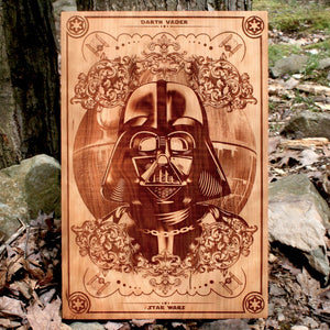 Star Wars Death Vader wood laser engraved art plaque