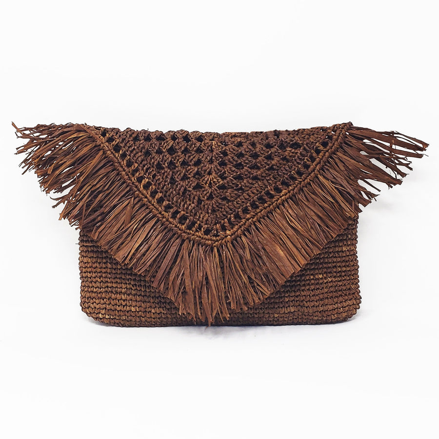 Raffia coaster in the color coffee