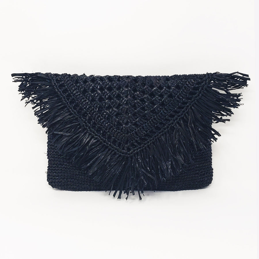 Raffia clutch in the color black