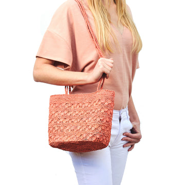 Lotus medium Raffia shoulder bag