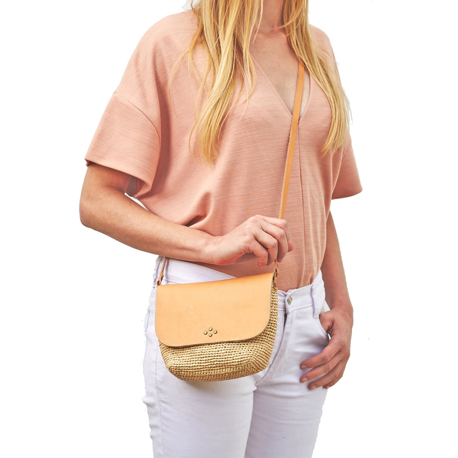 Nelly Mini Raffia cross body bag