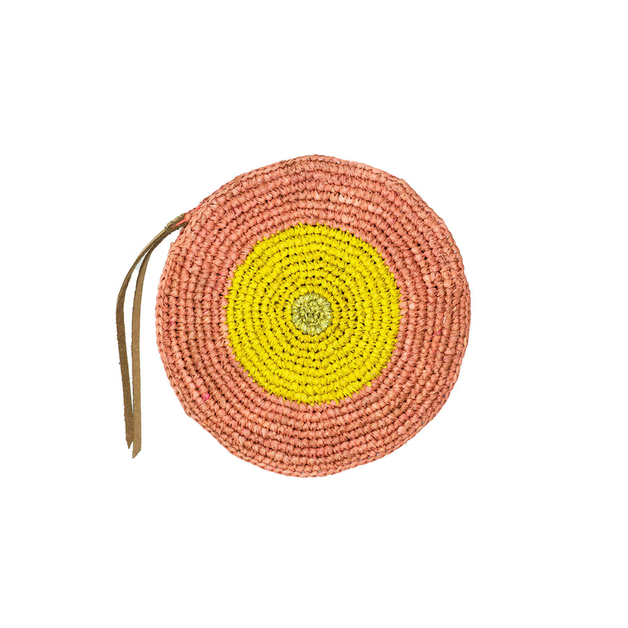 Bi color Raffia coin purse pink and yellow