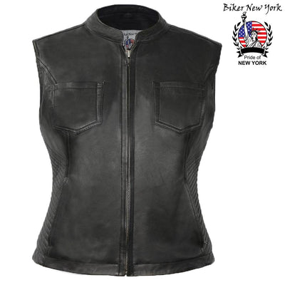 Solid - Women's Motorcycle Leather Vest