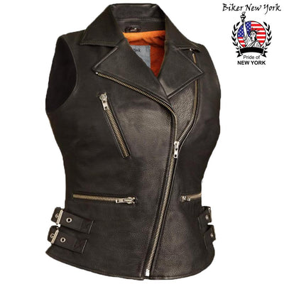 Super - Women's Motorcycle Leather Vest