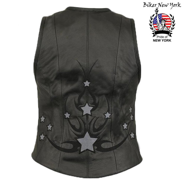 Stars - Women's Motorcycle Leather Vest