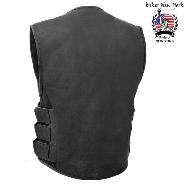 Swat Style - Men's Motorcycle Leather Vest