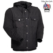 Denim - Men's Motorcycle Sweatshirt Vest