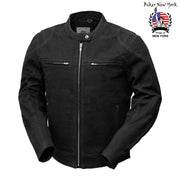 Checker Men's Canvas Motorcycle Jacket