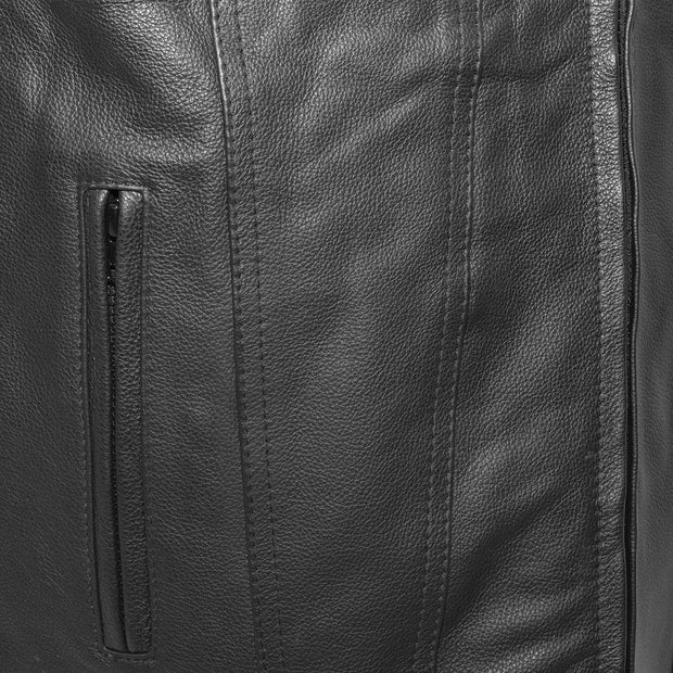 Men/'s Gladiator SWAT Leather Motorcycle Club Style Vest with dual Gun Pockets