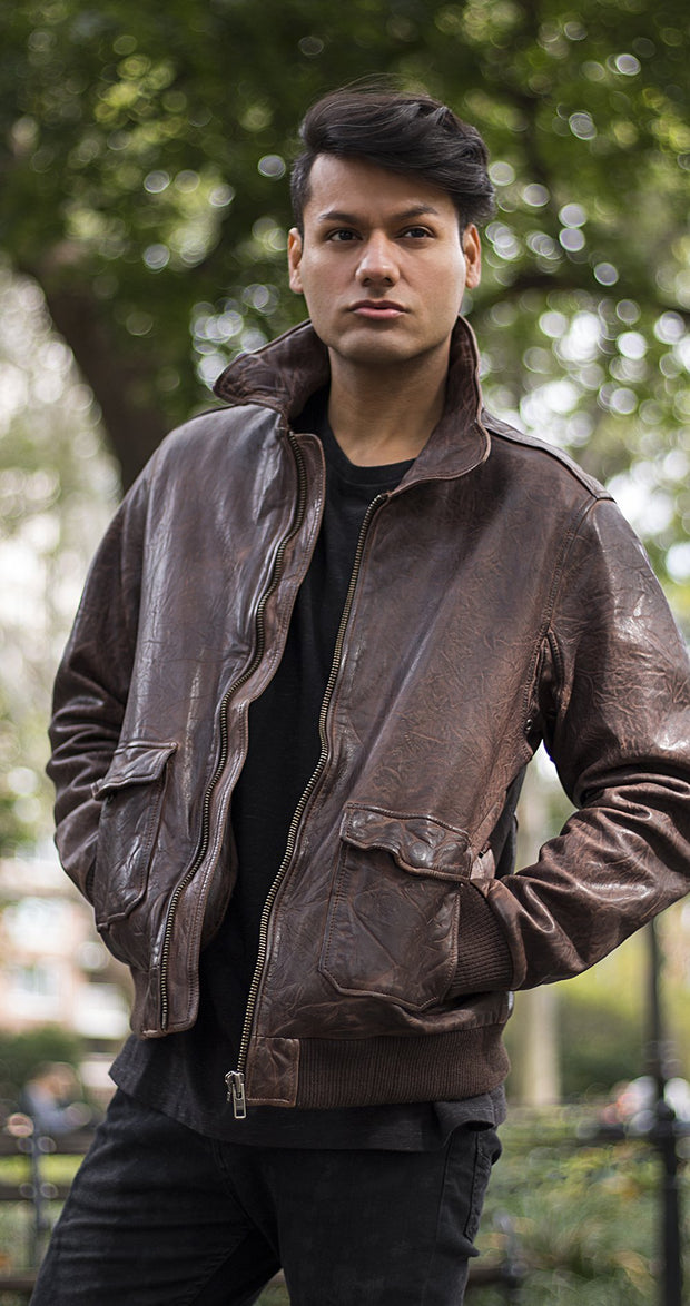 Duke - Men's Bomber Leather Jacket
