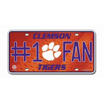 #1 Fan Car Tag White Clemson Tigers - Mr. Knickerbocker