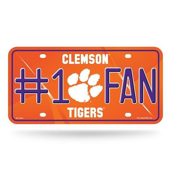 #1 Fan Metal Car Tag Purple Clemson Tigers - Mr. Knickerbocker