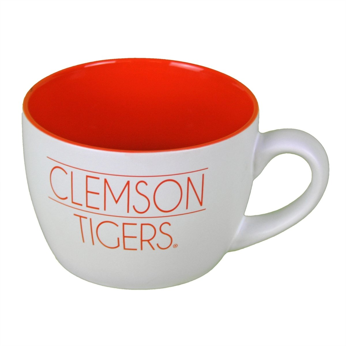 18 Oz Matte White Bolzano Mug With Orange Paw & Clemson Tigers - Mr. Knickerbocker