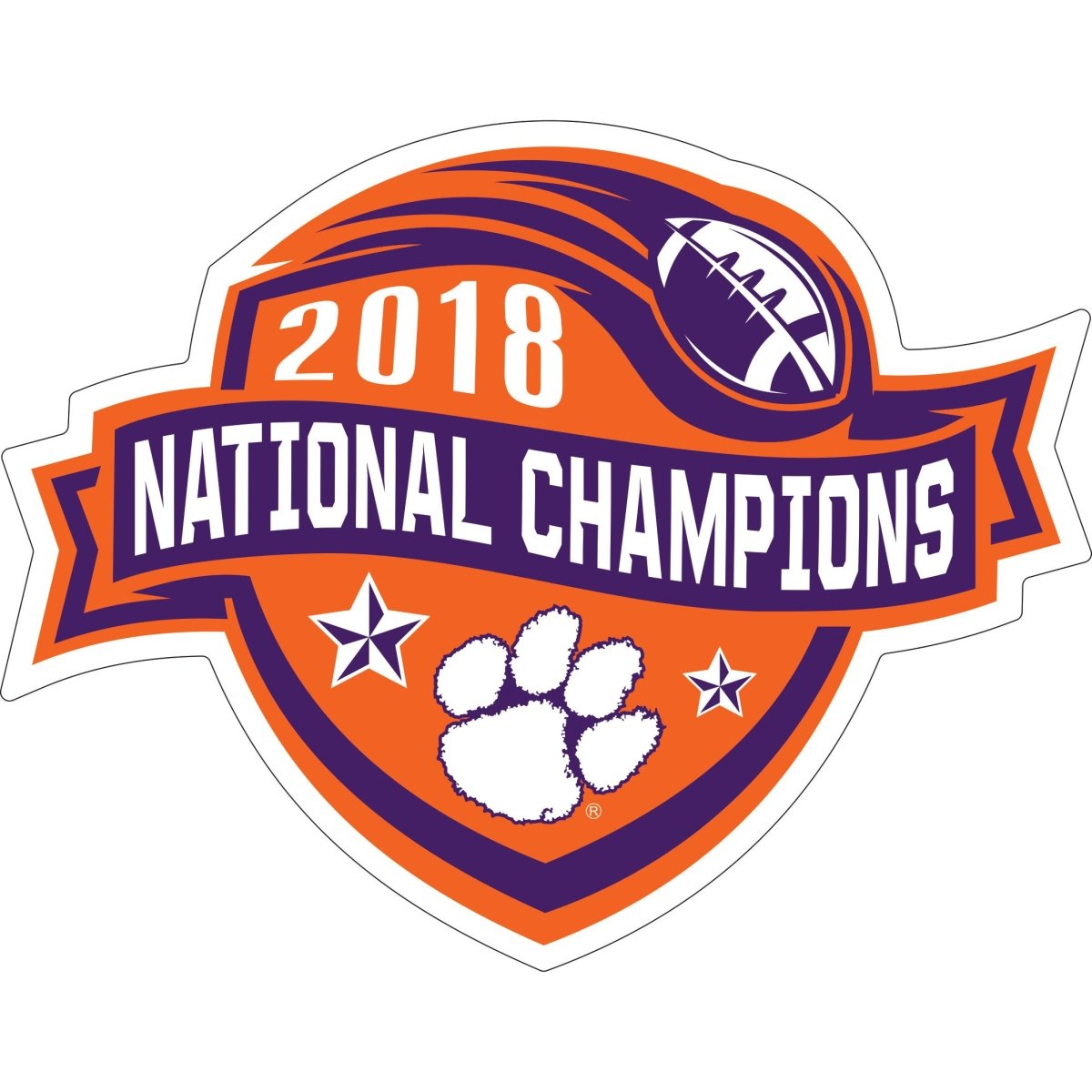 2018 National Champions Ribbon 4''x 6'' Decal - Mr. Knickerbocker