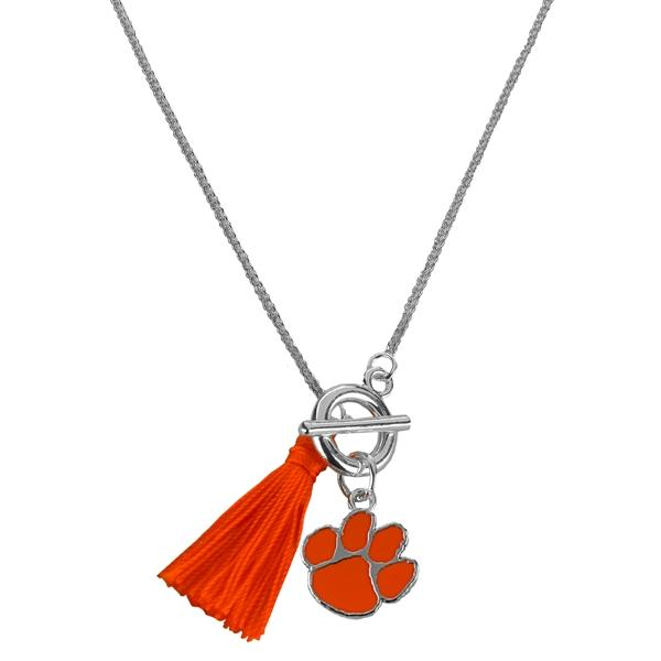 21'' Norma - Orange Tassel Toggle Necklace With Orange Paw - Mr. Knickerbocker