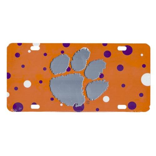Car Tag Orange With Polka Dots & Paw - Mr. Knickerbocker