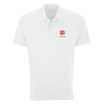 Vantage Clemson Tigers Mesh-tech Polo With Embroidered Paw and Script