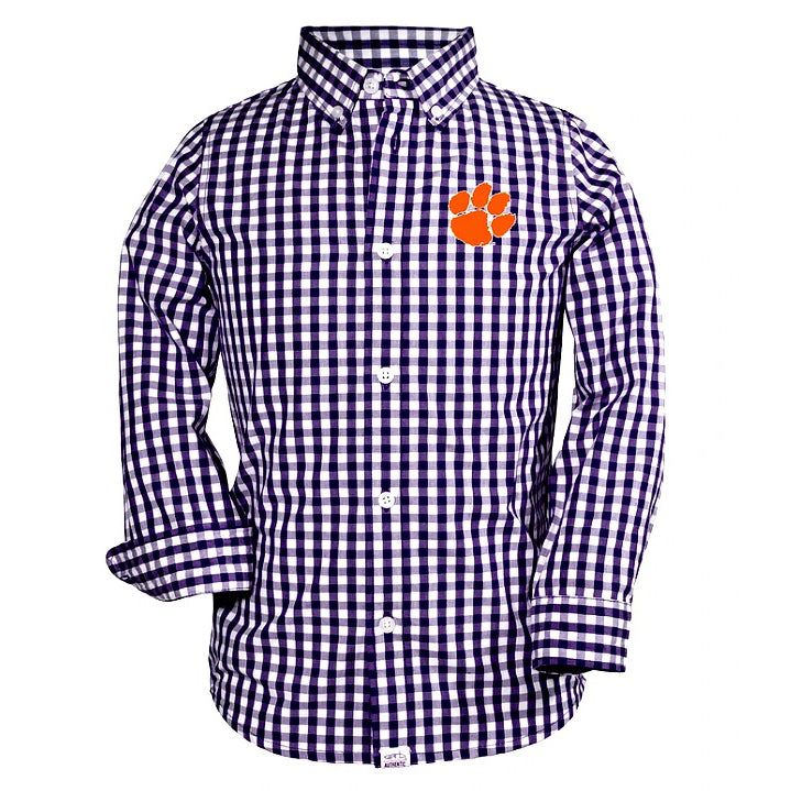 Youth Long Sleeve Logan Button up With Paw