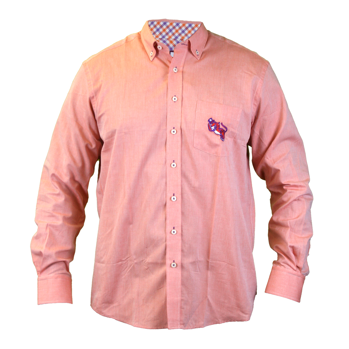 Oxford Long Sleeve Shirt With 3 Color Plaid Trim Tipping Hat Tiger