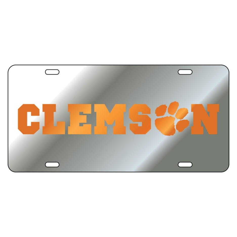 Laser Cut Mirrored Clems(paw)n Car Tag Silver With Orange Logo - Mr. Knickerbocker