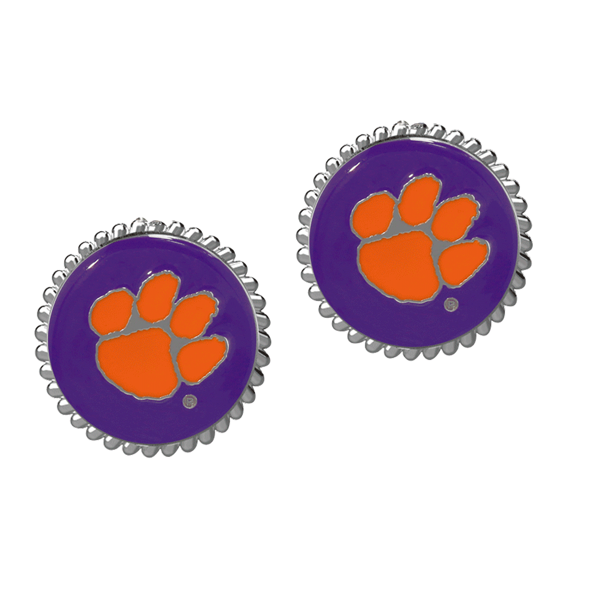 Eudi Natural Stud Earrings - Purple With Orange Paw - Mr. Knickerbocker