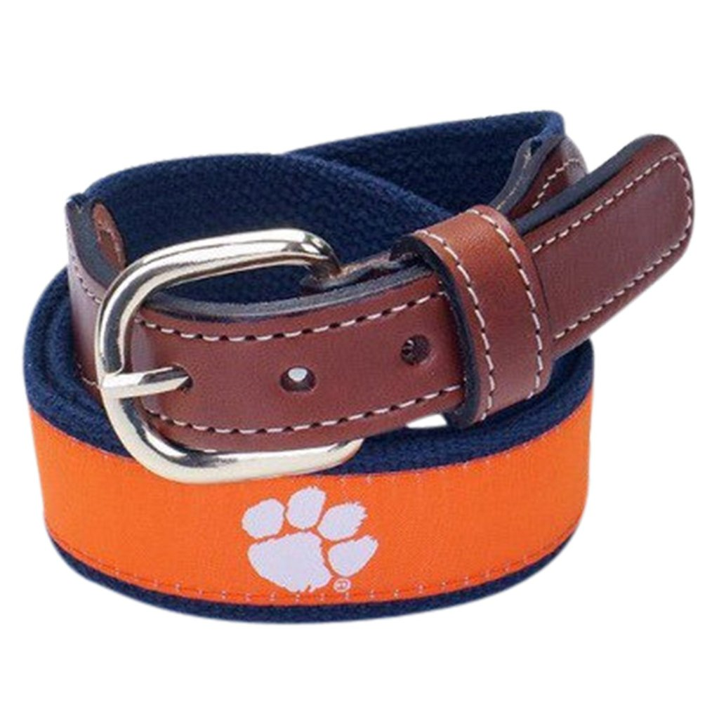 Clemson Tigers Web Leather Belt - Mr. Knickerbocker
